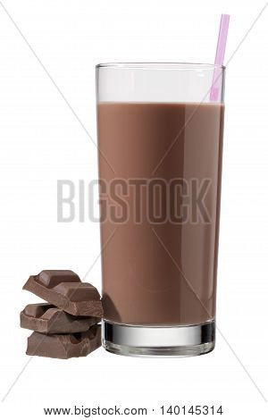 glass of chocolate drink with straw isolated on white background