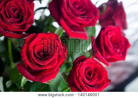 Red roses bouquet on white background , isolated
