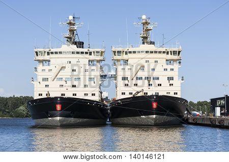 HELSINKI, FINLAND - JULY 13: Two icebreakers at summertime in Helsinki at July 13, 2016