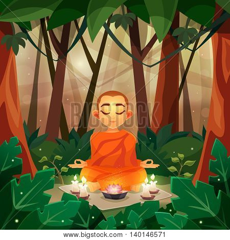 Color flat poster depicting buddha in forest with candle vector illustration