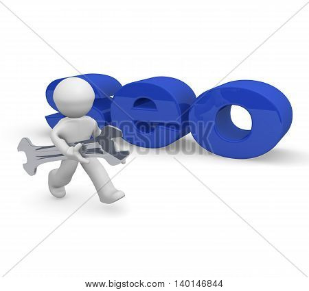 Small character with a wrench and the word SEO 3d rendering