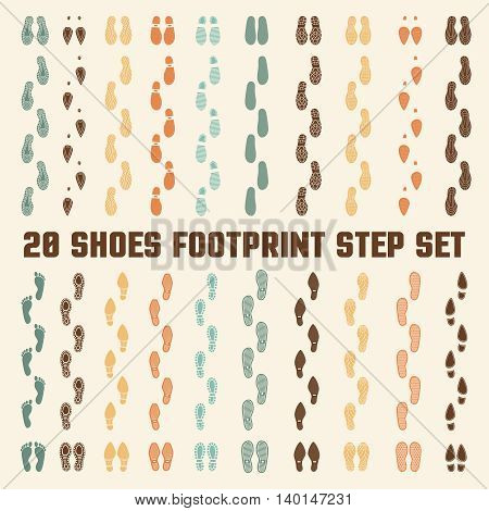 Various fashion style and sizes footwear soles types 20 flat colorful tracks collection banner abstract vector illustration