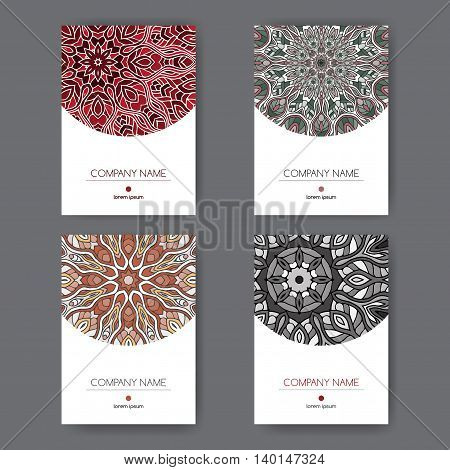 Set of four elegant A4 templates with oriental pattern. Great for report, brochure covers, menu design.