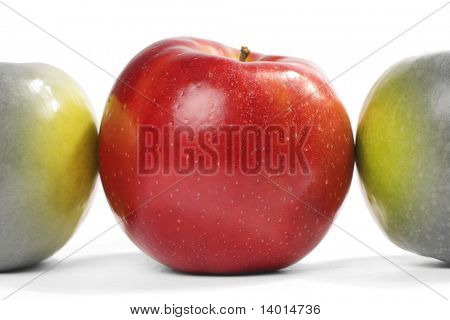 Red apple influencing to near green apples
