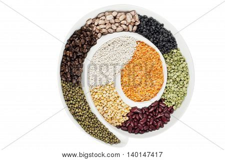 top view image of assorted beans in circular bowl