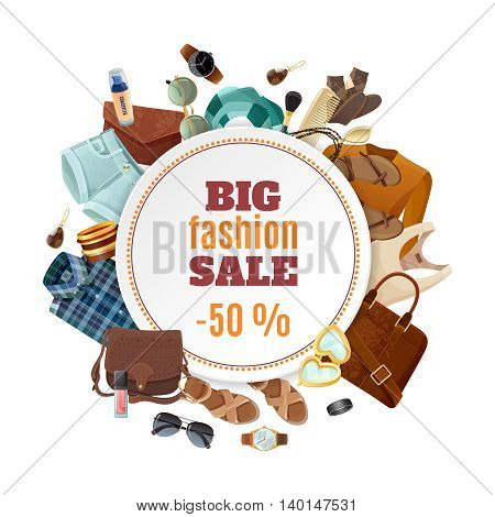 Big sale fashion poster with various fashionable male and female clothing accessories and shoes on white background flat vector illustration