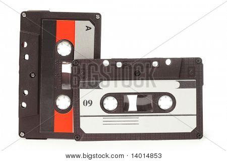 Audio cassettes on white background