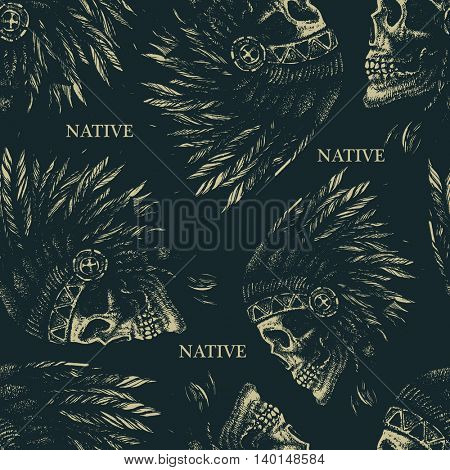 skull indian chief hand drawing style seamless background jpeg version