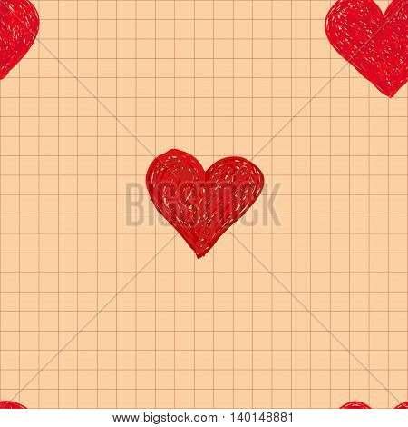 Hand-drawn doodle seamless pattern with hearts. Valentine's day design