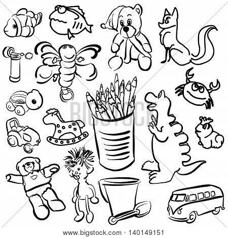 Big Set Of Sketched Kids Toys