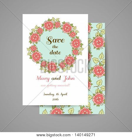 Wedding invitation with hand drawn pink roses on blue background. Vector illustration.