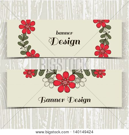 Set of banners with hand drawn red flowers on gray background. Vector illustration.