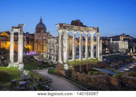 Ruins of Forum Romanum on Capitolium hill in Rome Italy