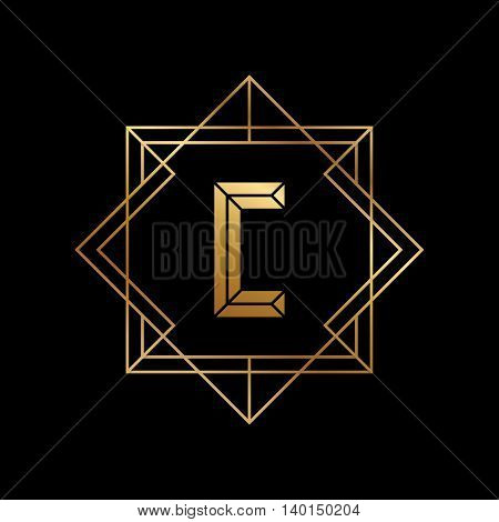 Letter C gold logo design template. C letter golden outline monogram. Gradient vector illustration.