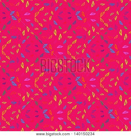 Doodles seashells background seamless pattern on pink background