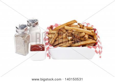 a bowl of french fries with condiments