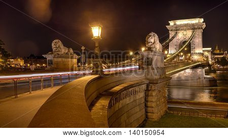 Night shot of Szechenyi Chain Bridge is a suspension bridge spans the River Danube of Budapest, the capital of Hungary.
