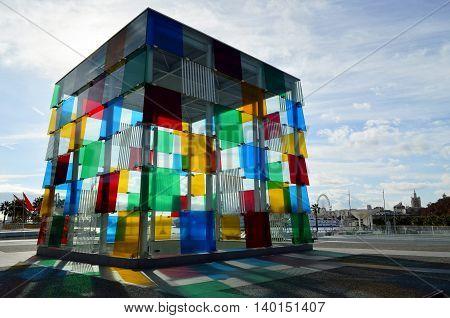 Malaga, Spain - January 3, 2016: The  colourful