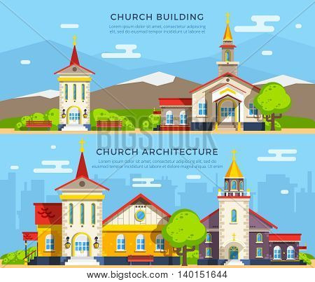 Beautiful historic church buildings of different architecture styles on backgrounds with mountains and cityscape flat banners isolated vector illustration