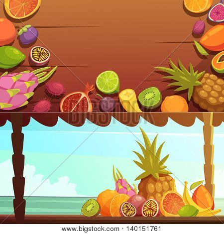 Tropical island summer vacations 2 horizontal banners with delicious fruits with ocean background view cartoon vector illustration