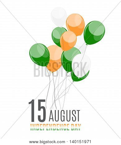 Indian Independence Day Background with Balloons. Vector Illustration
