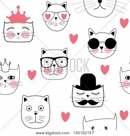 Cute Handdrawn Cat Seamless Pattern Vector Illustration EPS10