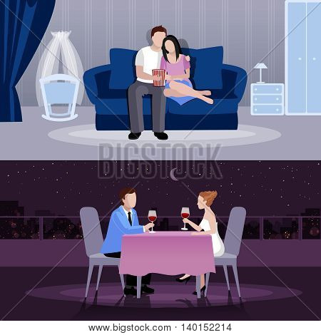 Happy couples people in romantic atmosphere at home and restaurant flat compositions isolated vector illustration