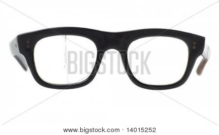Retro broken eye glasses isolated on white