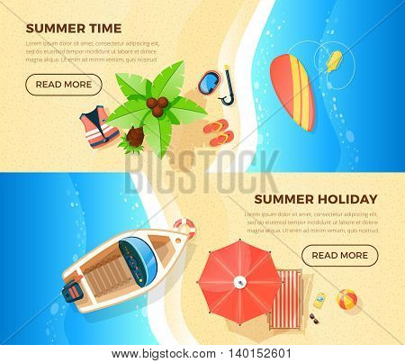 Summer holiday tropical island ocean beach vacation information 2 top view banners webpage design isolated vector illustration