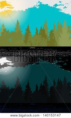 Day and night in Modern Flat Design with Silhouettes of Trees. Vector Illustration. EPS10