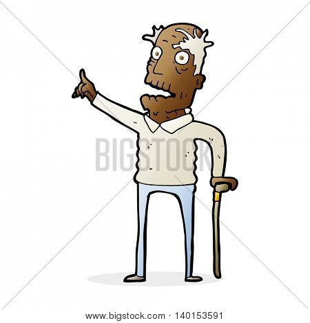cartoon old man with walking stick