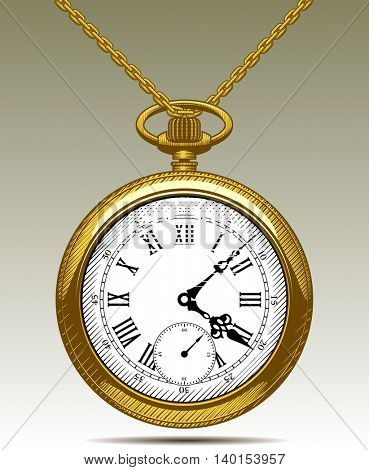 Gold pocket watch on a chain. Vintage engraving stylized drawing