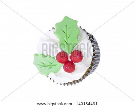 cupcake with white icing and cherry decoration