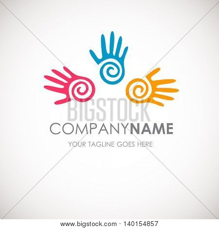 Three hands vector logo template. Teamwork concept illustration.