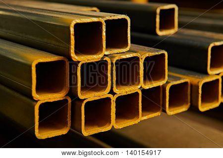 Yellow Square Metal Tubes