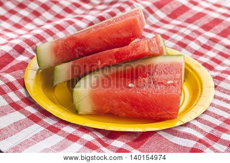 slices of watermelon on a picnic cloth