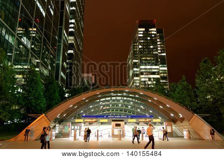 LONDON UK - JULY 1 2014: Canary Wharf station entrance at night. Canary Wharf is a major business district (1300000 sqm) in London.