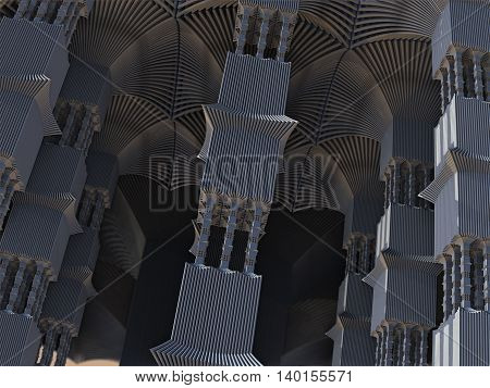 Alien pillars abstract fractal science fiction design in the form of futuristic city building columns for backgrounds and wallpapers