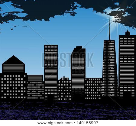 Silhouette of Big City on Background of Bright Summer Sun and Blue Sky. Vector Illustration. EPS10