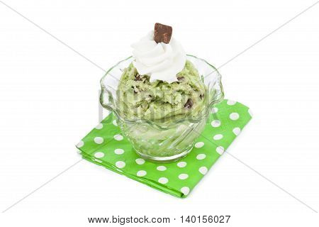 mint ice cream with cream and chocolates