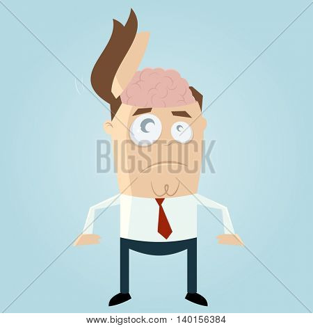 funny businessman with open head