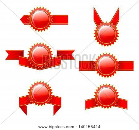 Set of labels with red ribbons. Vector illustration