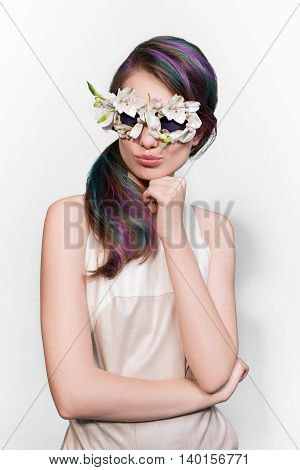 Fashion hipster woman in flowers vogue sunglasses