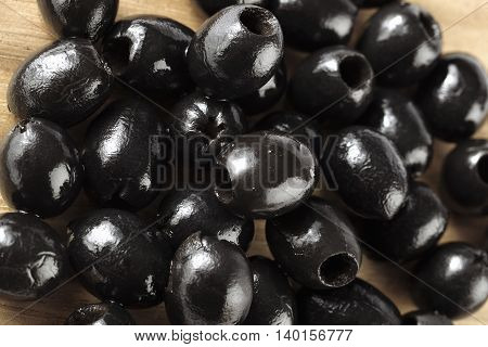 top view image of heap of black olives