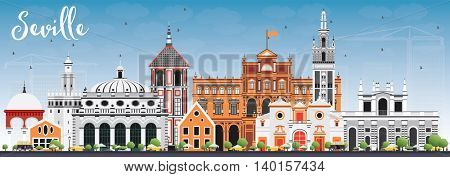 Seville Skyline with Color Buildings and Blue Sky. Vector Illustration. Business Travel and Tourism Concept with Historic Buildings. Image for Presentation Banner Placard and Web Site.