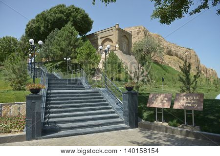 Samarkand Uzbekistan - July 03 2014: tomb of prophet Daniel in Samarkand. Saint Daniel is revered by Jews Christians and Muslims. Muslims call it the Holy Daniyar.