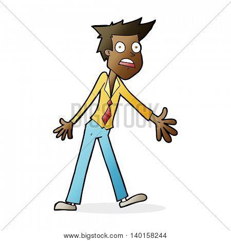 cartoon stressed man