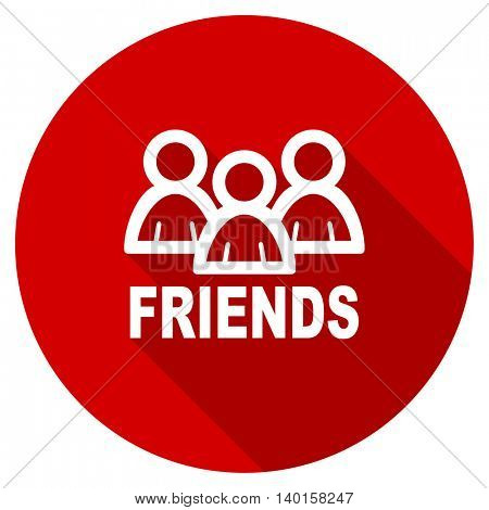 friends vector icon, red modern flat design web element