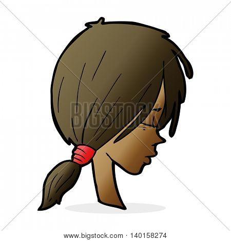 cartoon girl looking thoughtful