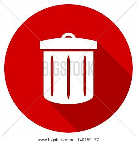 recycle vector icon, red modern flat design web element